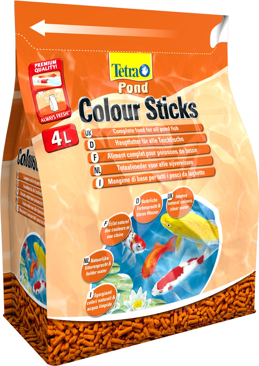 Tetra pond colour sticks 1 0 l 4 0 l 10 0 l for Gartenteichfische shop