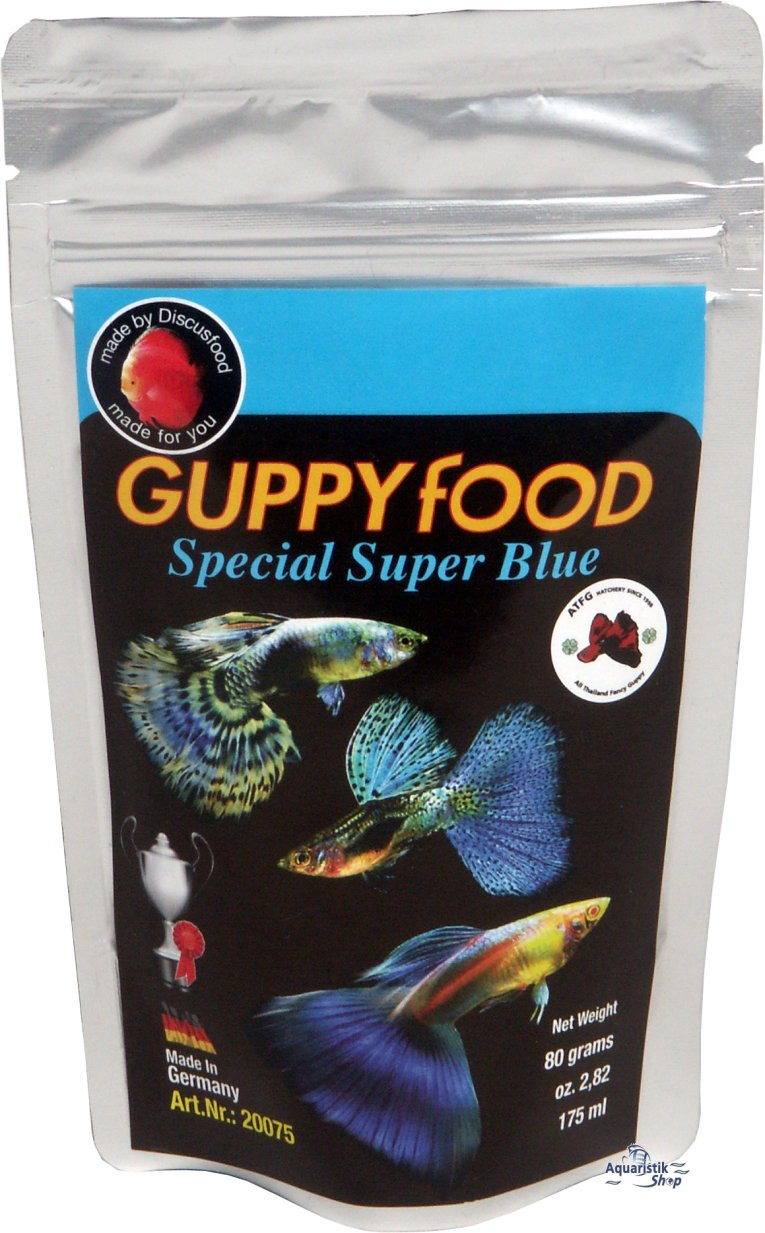Discusfood guppy super special blue for Guppy fish food
